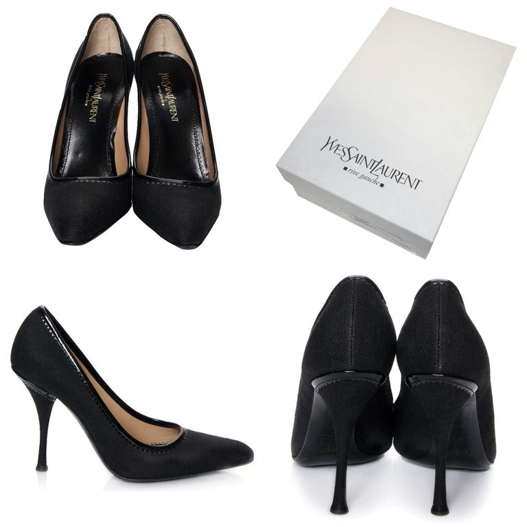 Tom Ford For YSL Heels  Brand New * Tom Ford Linen Heels  * Beautiful Black Linen * Black Patent Piping * Size Euro: 37 * Stunning Pumps * Comes W/ Extra Heel Tips!   * Leather Insole * 4.25