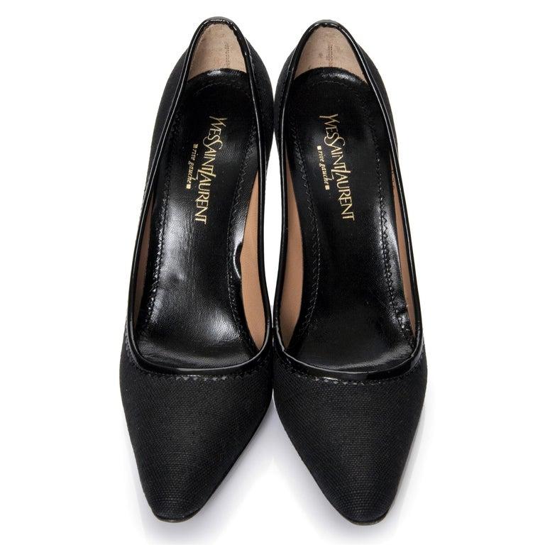 Women's New Vintage Tom Ford for Yves Saint Laurent YSL Linen Patent Heels Sz 37 For Sale