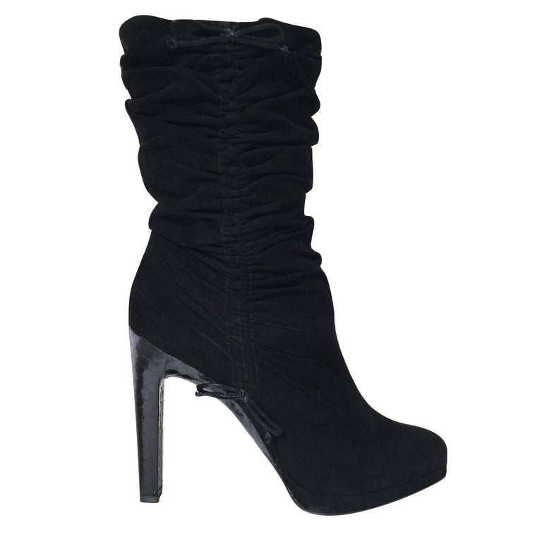 f1465b36791 Tom Ford For Gucci Final Collection Python Runway Ad Suede Boots Sz 36.5  For Sale