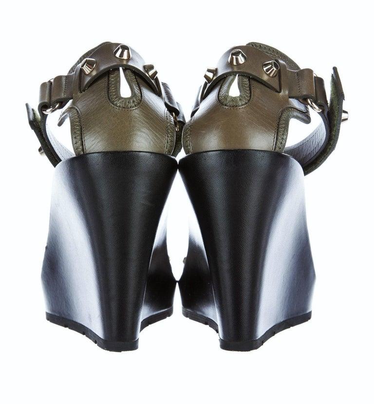 New Balenciaga Studded Platform Wedge Heels Sz 37.5 For Sale 2