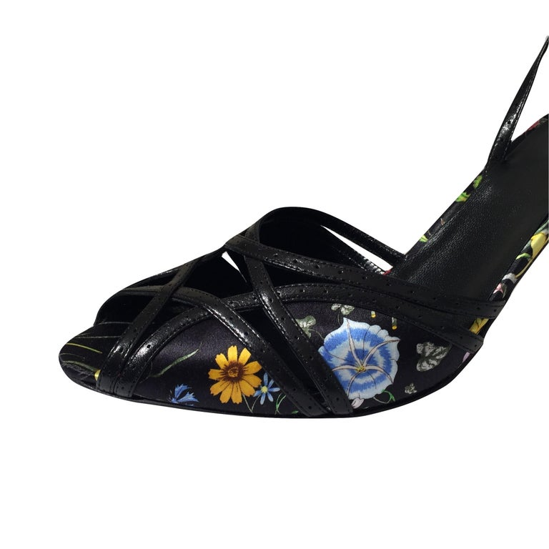New Gucci Leather and Satin Flora Heels Sz 9.5 For Sale 1