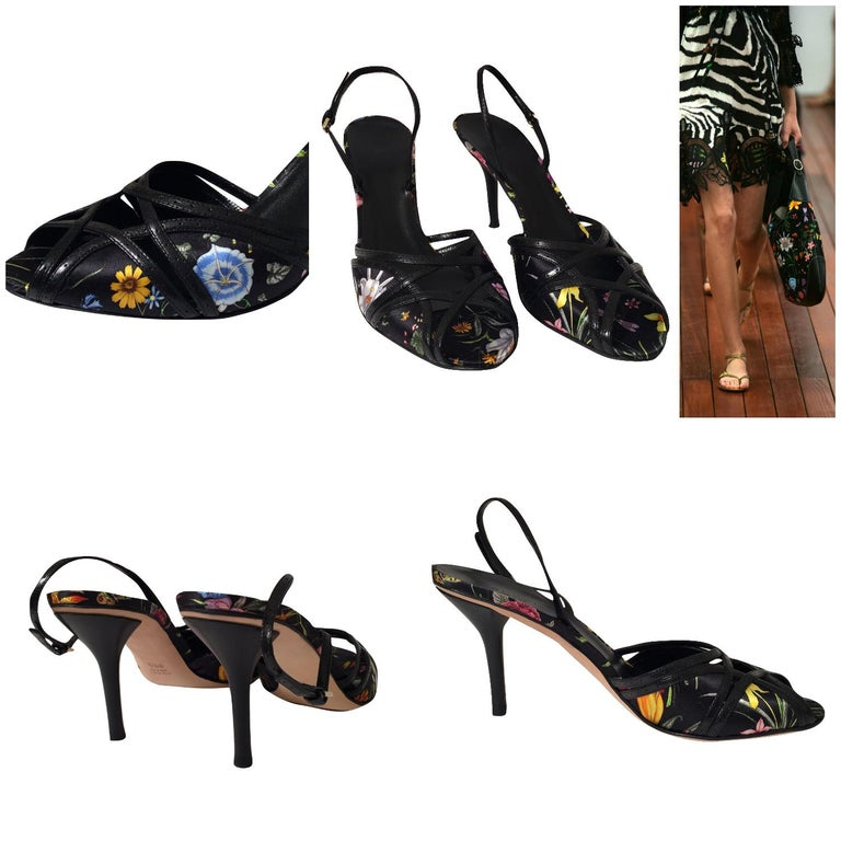 Gucci Flora Cruise Heels Brand New * Stunning Black Multi Flora * Rare Cruise 2005 Line * Size: 9.5 * Cross Cross Leather and Satin Toe * Leather & Satin Insole  * 4