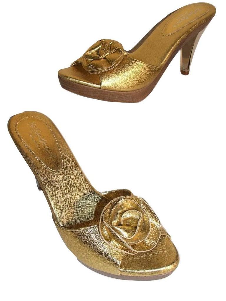 New Tom Ford for YSL Yves Saint Laurent Nadja Rosette Gold Heels Sz 40 For Sale 1