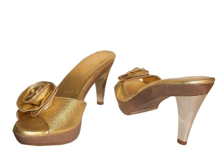 New Tom Ford for YSL Yves Saint Laurent Nadja Rosette Gold Heels Sz 40 For Sale 2