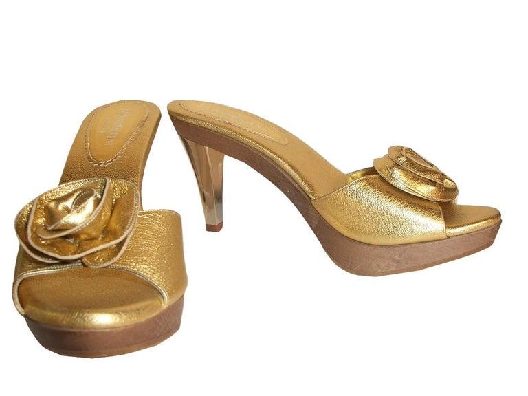 New Tom Ford for YSL Yves Saint Laurent Nadja Rosette Gold Heels Sz 40 For Sale 3