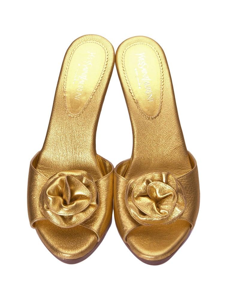 Women's New Tom Ford for YSL Yves Saint Laurent Nadja Rosette Gold Heels Sz 40 For Sale