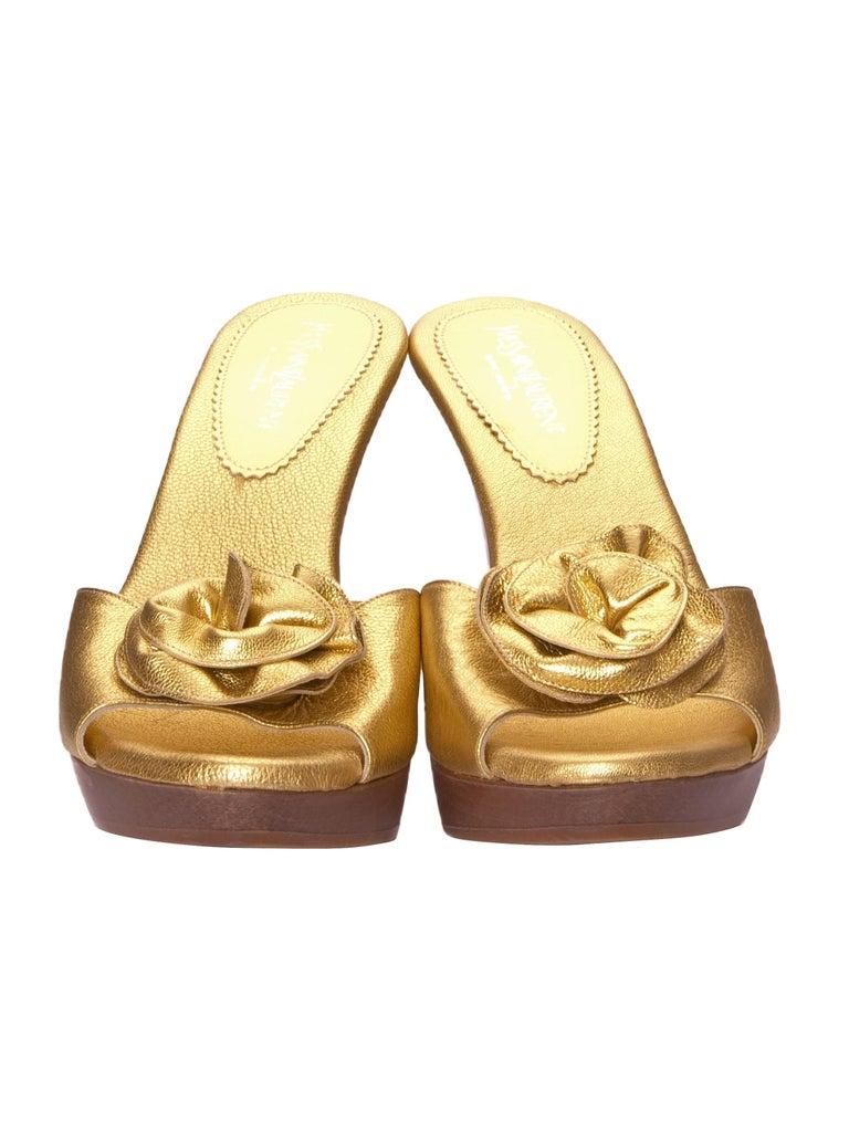 Brown New Tom Ford for YSL Yves Saint Laurent Nadja Rosette Gold Heels Sz 40 For Sale