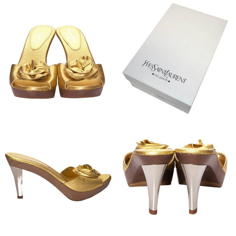 Tom Ford For YSL Heels Brand New * Nadja Rosette Heels to match the Famous Nadja Bags!   This was his last collection for Yves Saint Laurent. He was inspired by the Chinese Collection of 1977 * Gold Heel * Size Euro: 40  * Gold Foil Leather *