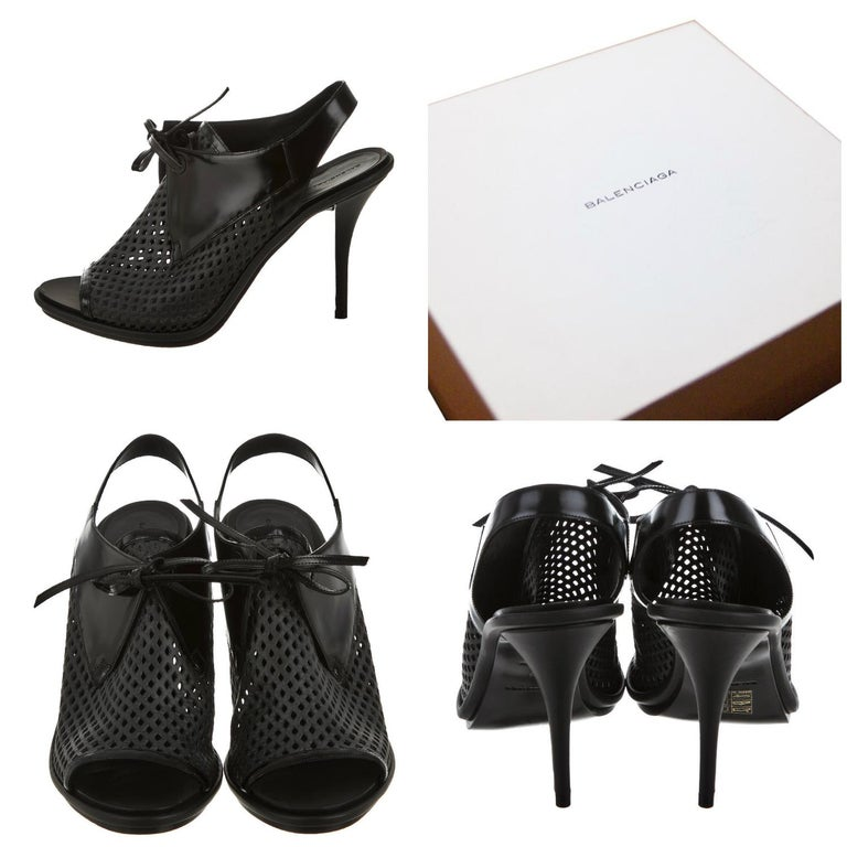 Balenciaga Heels Brand New * Stunning in Black Patent Leather * Ties at the Front * Perforated Leather Front * Slight Platform * .75