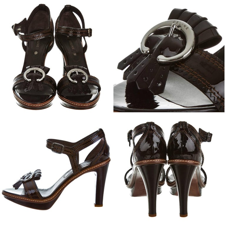 Celine Platform Heels Brand New * Stunning in Brown Patent Leather * Contrast Stitching Throughout * Size: 39 * Gunmetal Hardware reads Celine * Leather Insole  * Adjustable Ankle Strap * 4.25