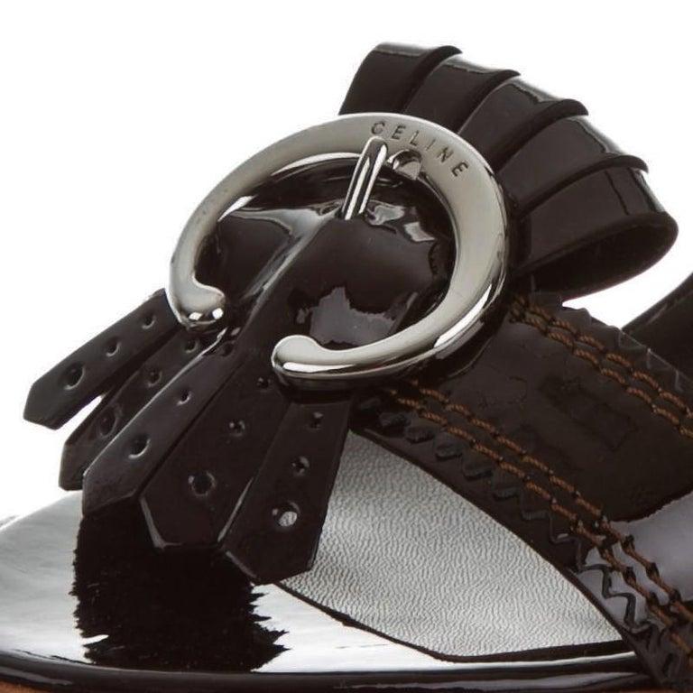 Black New Celine Patent Leather Brown Platform Heels Sz 39 For Sale