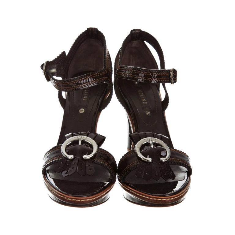 Women's New Celine Patent Leather Brown Platform Heels Sz 39 For Sale