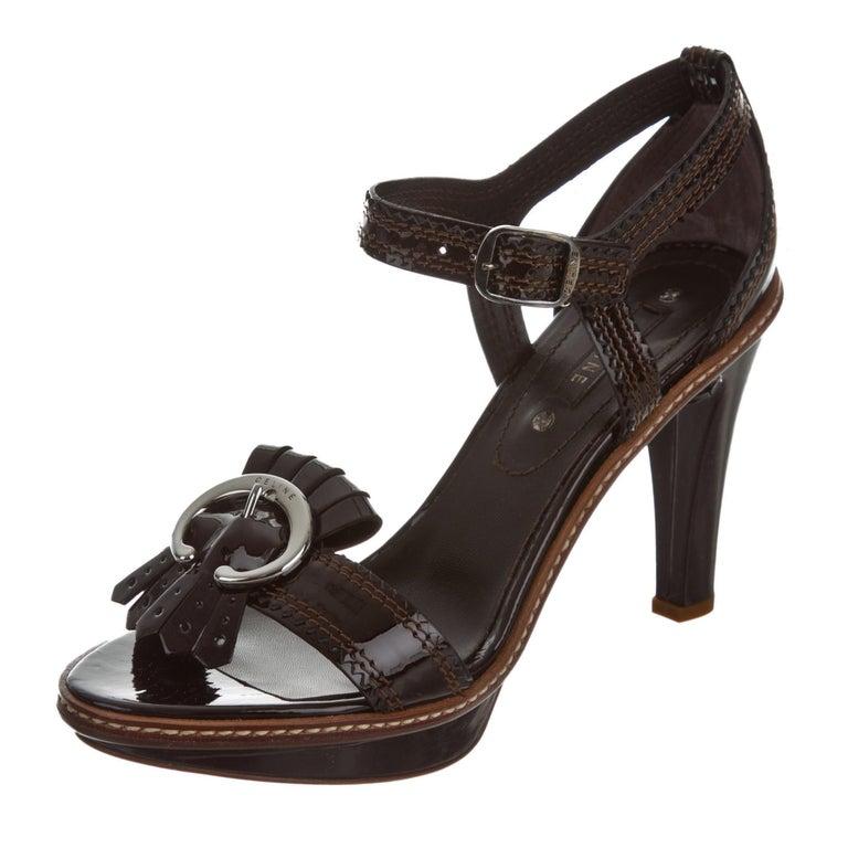 New Celine Patent Leather Brown Platform Heels Sz 39 For Sale 1