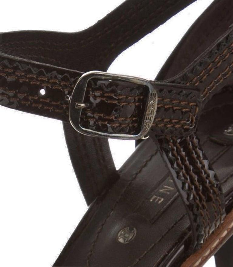 New Celine Patent Leather Brown Platform Heels Sz 39 For Sale 2
