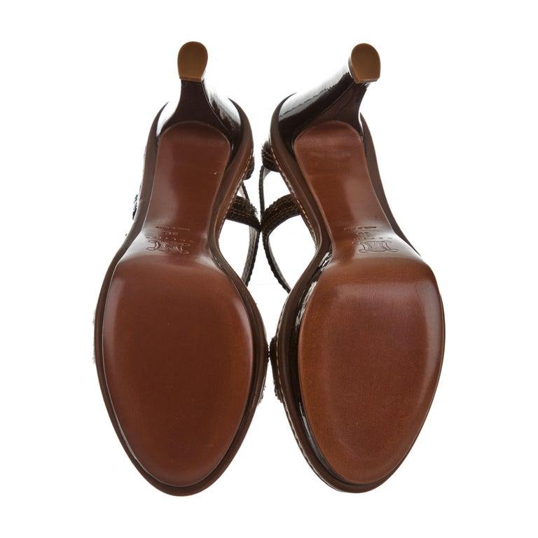 New Celine Patent Leather Brown Platform Heels Sz 39 For Sale 3