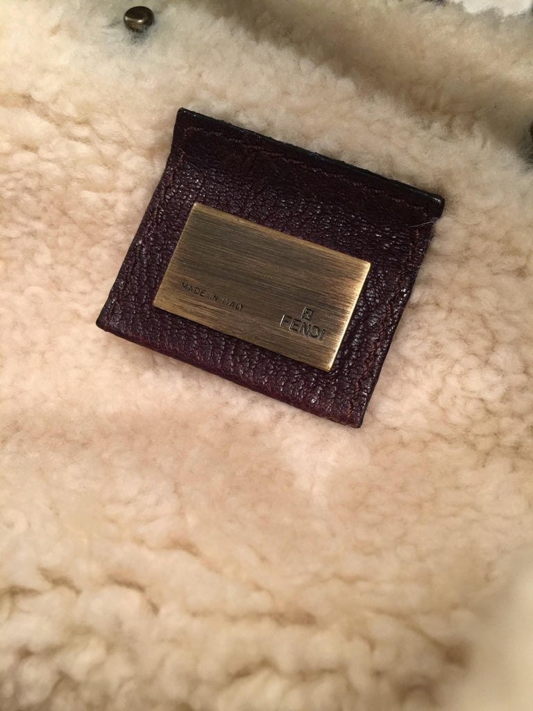 New Fendi Shearling and Suede FF Brown Hobo Tote Bag In New Condition For Sale In Leesburg, VA