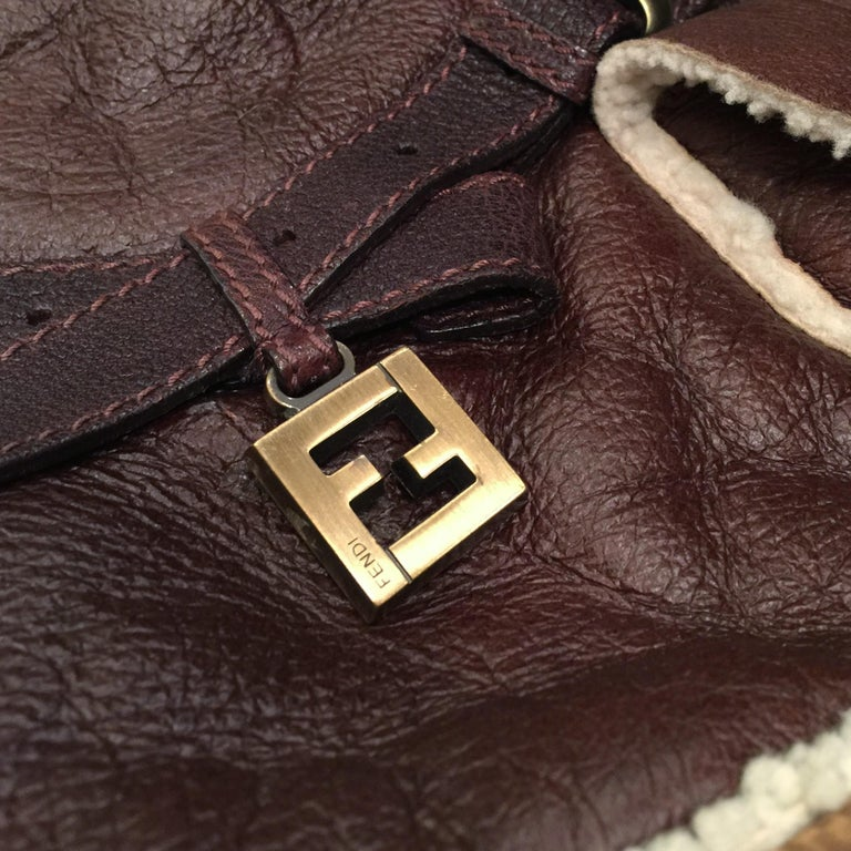 New Fendi Shearling and Suede FF Brown Hobo Tote Bag For Sale 1