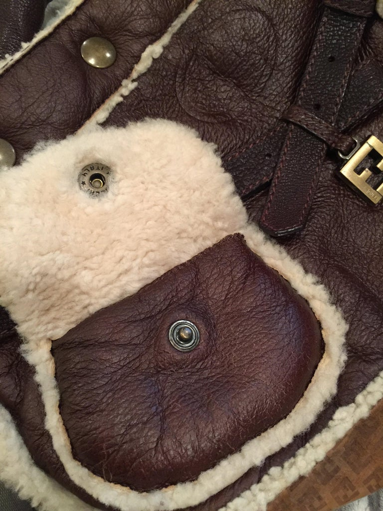 New Fendi Shearling and Suede FF Brown Hobo Tote Bag For Sale 3