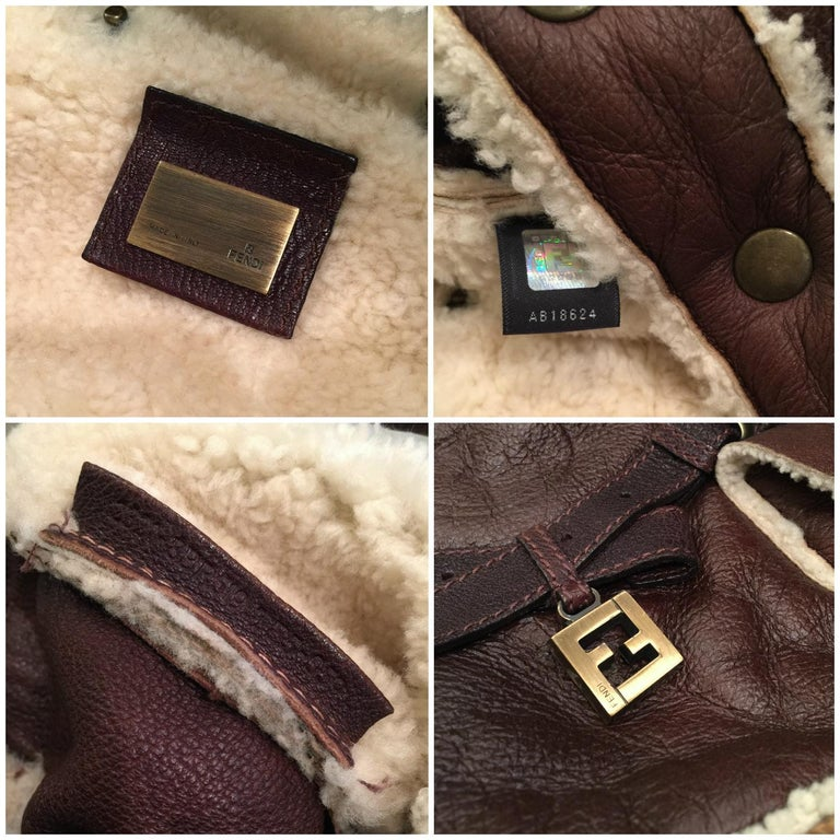 New Fendi Shearling and Suede FF Brown Hobo Tote Bag For Sale 10