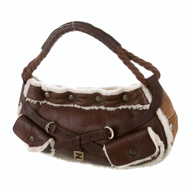 New Fendi Shearling and Suede FF Brown Hobo Tote Bag For Sale 4