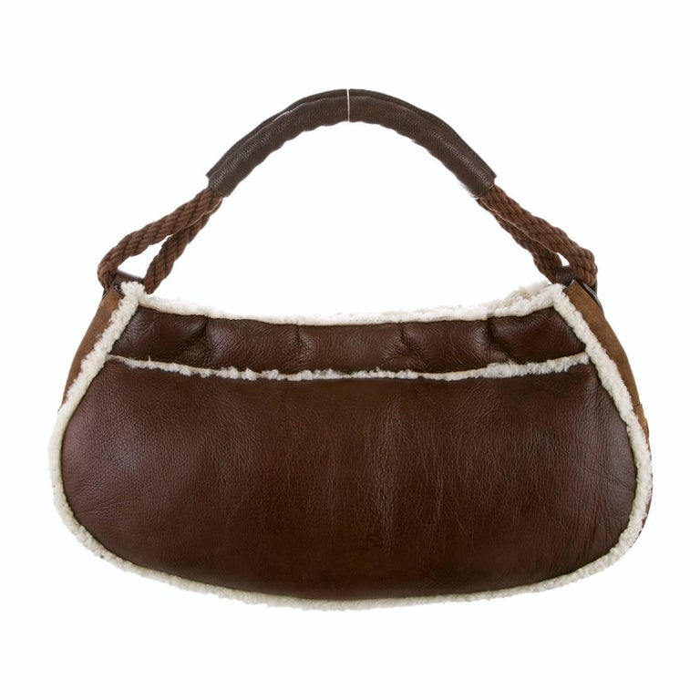 Women's New Fendi Shearling and Suede FF Brown Hobo Tote Bag For Sale