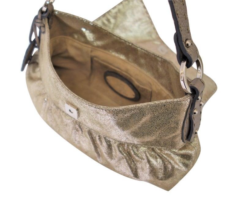 8fda66e144 Women s New Fendi Metallic Gold Suede Selleria Chef Baguette Bag For Sale
