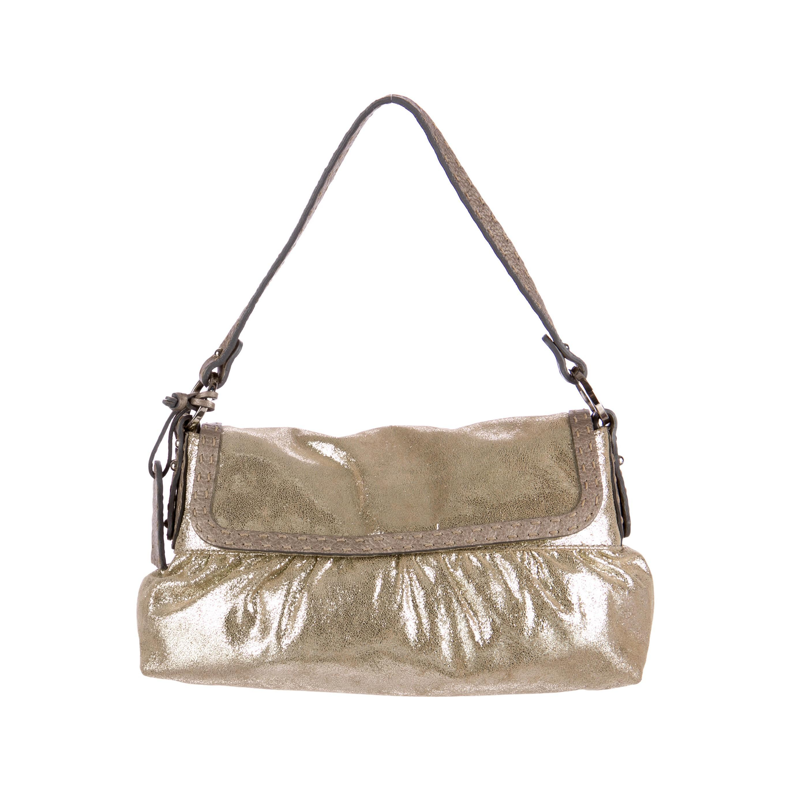 8fbe9f50f0 ... where can i buy fendi new metallic gold suede selleria chef baguette bag  for sale e8f55