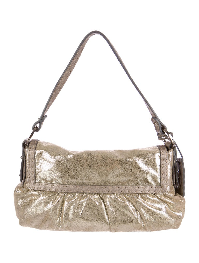 110c27e781 New Fendi Metallic Gold Suede Selleria Chef Baguette Bag For Sale at ...