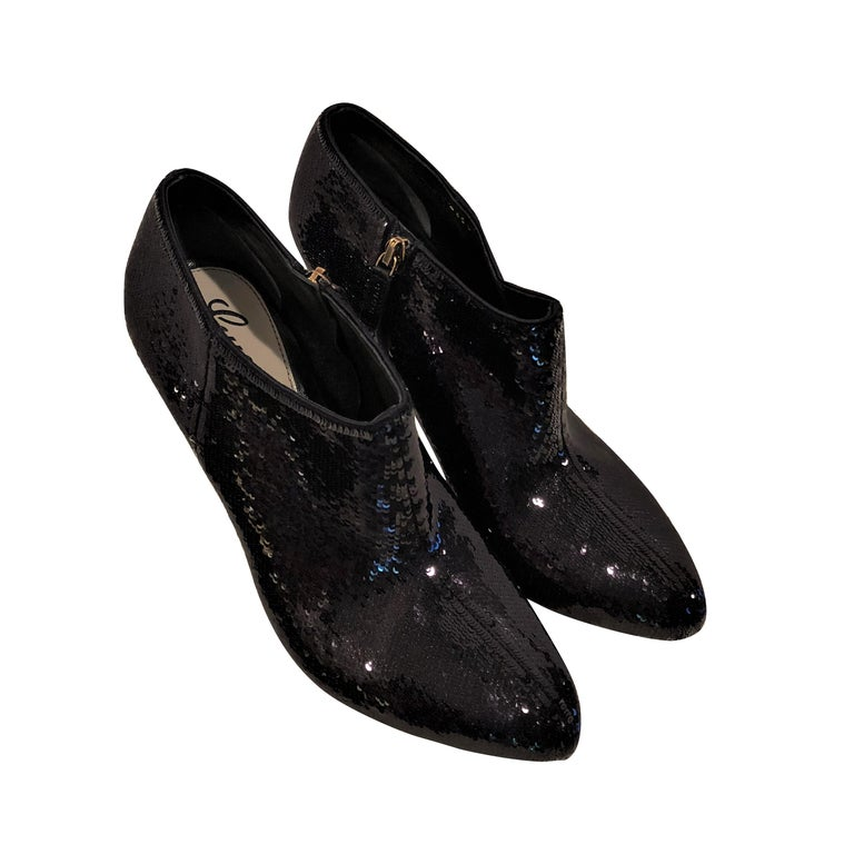 Black New Gucci Sequin Evening Boots Booties Heels  For Sale