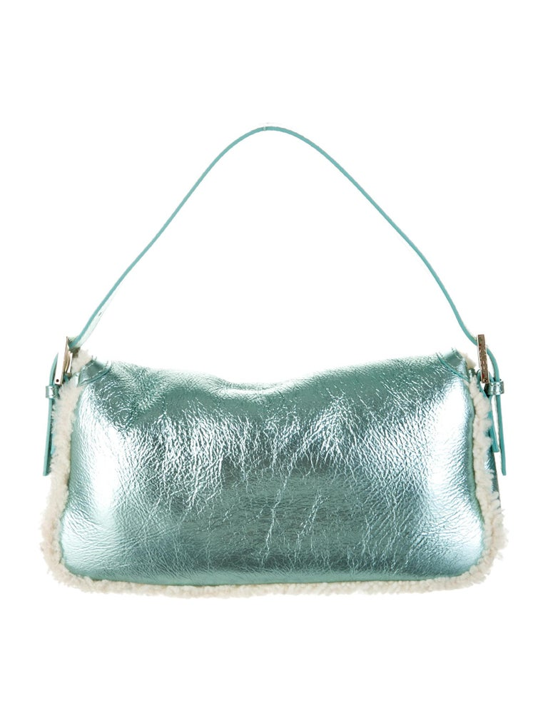 Gray New Fendi Shearling Baguette Bag Featured in 15th Anniversary Book For Sale