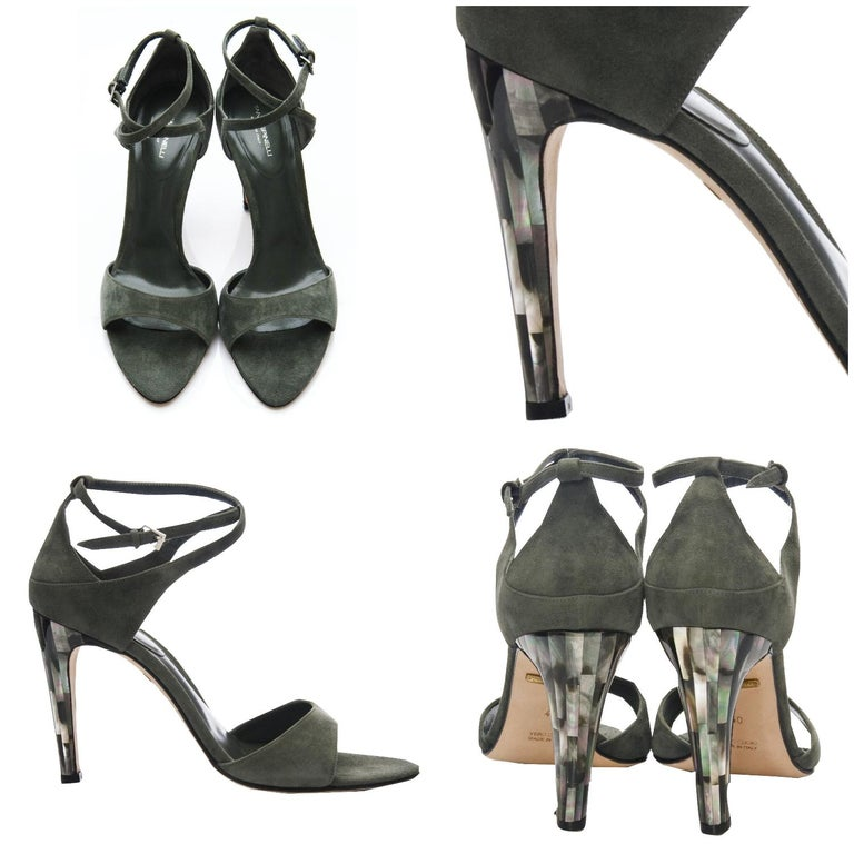 Black New Tania Spinelli Mother of Pearl Suede Heels Sz 40 For Sale
