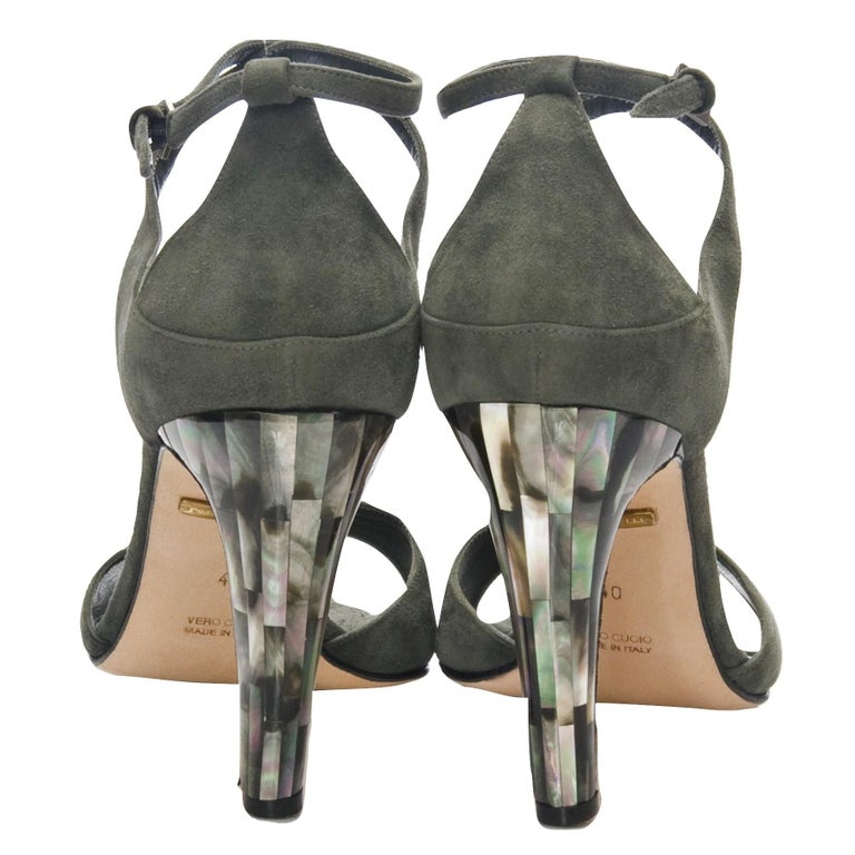 Tania Spinelli Mother of Pearl Heels Brand New * THESE ARE STUNNING * Size: 40  * Dark Moss Green Suede * Leather Footbed * Mother of Pearl Heel * 4