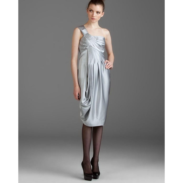 New Catherine Malandrino Black Label Silk Cocktail Dress Sz 38 In New Condition For Sale In Leesburg, VA