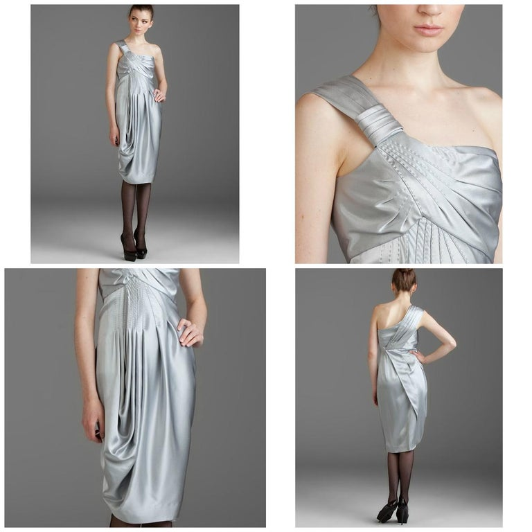 Malandrino Black Label Brand New with Tags * Soft Silver One Shoulder Dress * Decorative