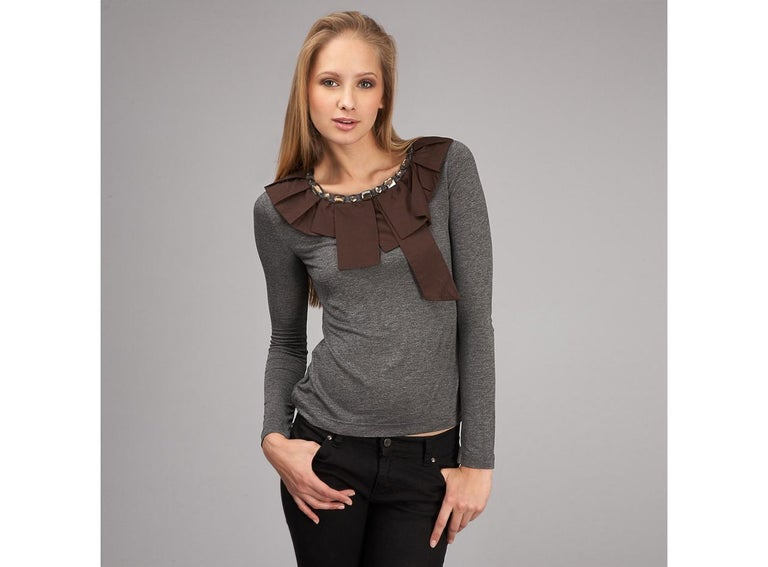 Black New 2b. Rych Soft Grey Blouse Top Shirt with Jeweled Neck Sz S For Sale
