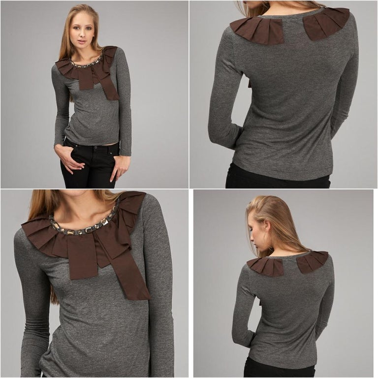 2b. Rych Jeweled Blouse  Brand New w/ Tags * Super Soft Long Sleeve Blouse * Dark Grey Heathered Longsleeve * Chocolate Accent at Neck  * Bronze Jeweled at Neck * Fabric Content: 10% Cotton, 5% Silk, 85% Rayon