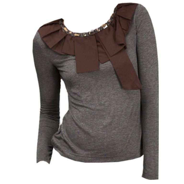 2b. Rych Soft Grey Blouse with Jeweled Neck  For Sale