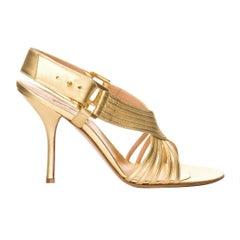 New Edmundo Castillo Metallic Gold Soft Napa Leather Sling Heels