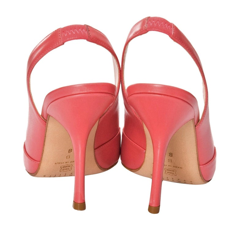 New Edmundo Castillo Coral Leather Sling Heels Sz 8 In New Condition For Sale In Leesburg, VA