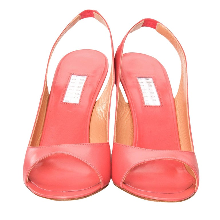 Orange New Edmundo Castillo Coral Leather Sling Heels Sz 8.5 For Sale