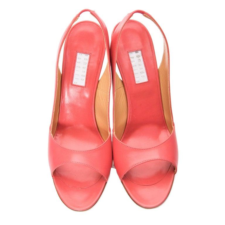 New Edmundo Castillo Coral Leather Sling Heels Sz 8.5 For Sale 1