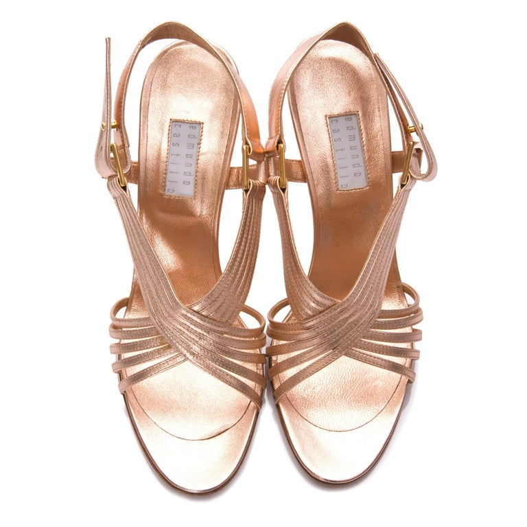 New Edmundo Castillo Soft Metallic Rose Gold Napa Leather Sling Heel 7.5 For Sale 2