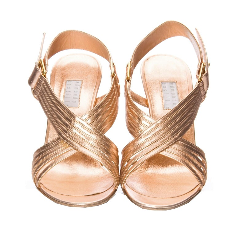 New Edmundo Castillo Soft Metallic Rose Gold Napa Leather Sling Heels 8 In New Condition For Sale In Leesburg, VA