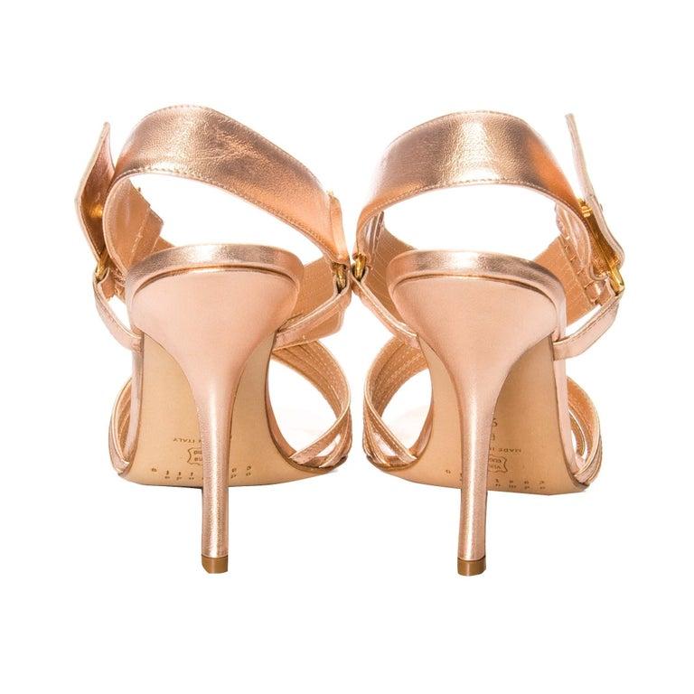 Women's New Edmundo Castillo Soft Metallic Rose Gold Napa Leather Sling Heels 8.5 For Sale