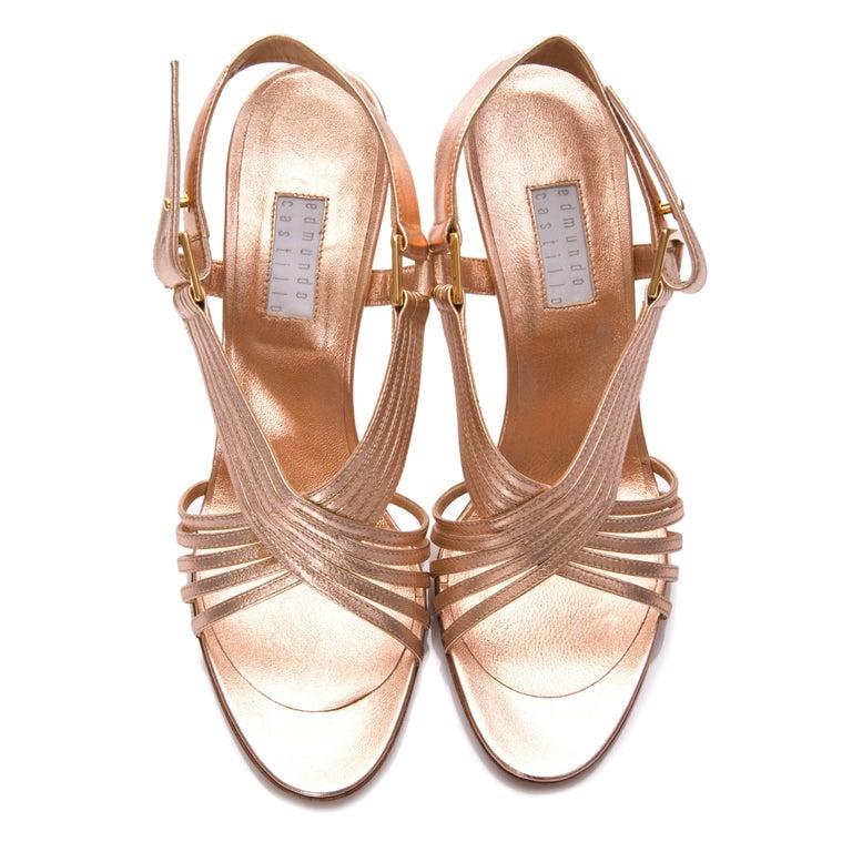 New Edmundo Castillo Soft Metallic Rose Gold Napa Leather Sling Heels 8.5 For Sale 2