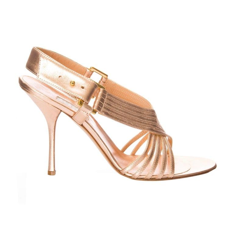 Edmundo Castillo Soft Metallic Rose Gold Napa Leather Sling Heels