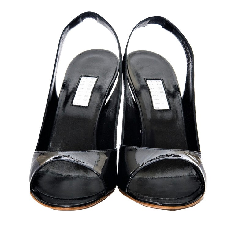 New Edmundo Castillo Black Patent Leather Sling Heels Sz 7 In New Condition For Sale In Leesburg, VA