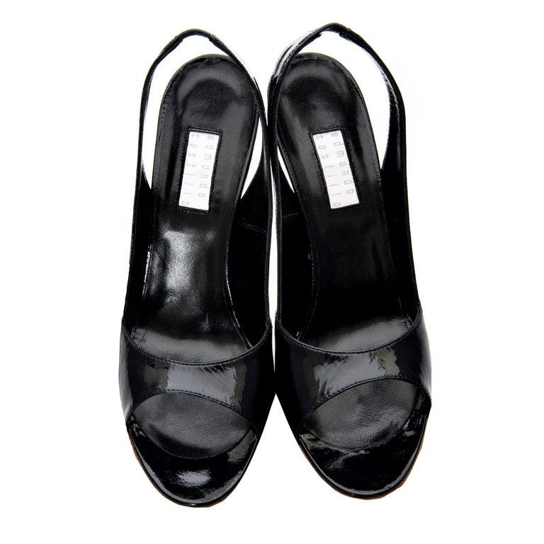 New Edmundo Castillo Black Patent Leather Sling Heels Sz 7 For Sale 2