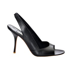 New Edmundo Castillo Black Leather Sling Heels