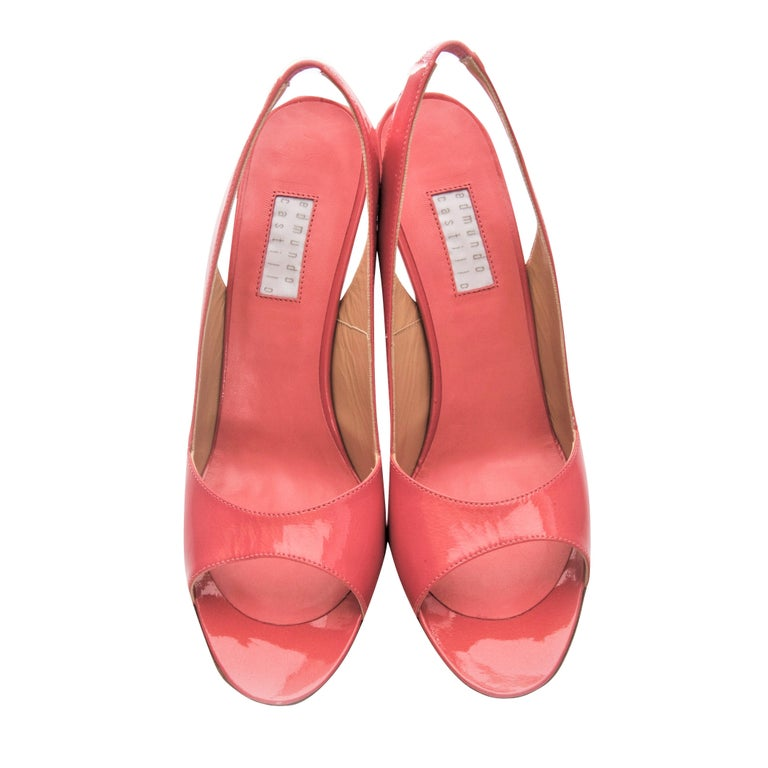 New Edmundo Castillo Coral Patent Leather Sling Heels For Sale 1